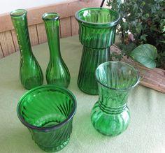 Vintage Green Vases Floristware Set of Five by LazyYVintage $25.00 http://www.etsy.com/shop/LazyYVintage