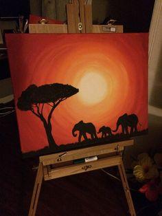 #elephantpainting #elephant #painting #sunset