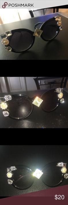 💎💎Customized Jeweled Sunglasses 😎 Oversized Black Frame Sunglasses with jewels. customized by me! Accessories Sunglasses