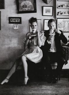A couple that enjoys a lovely cup of tea.