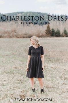 Charleston Dress Pattern | The perfect women's dress pattern! | Pattern by Hey June | Sewn by Sew Much Ado  #charlestondress #heyjune #heyjunepatterns #sewmuchado #pdfpattern #sewingpattern #joann #littleblackdress #sewing #dresspattern