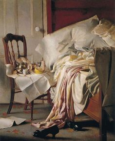 """"""" The Breakfast Tray Elizabeth Okie Paxton (American, Oil on canvas. Paxton may have been satirizing the staid Boston School as she was not bound by it. In the painting, the ordinary black pumps that took their owner. Kitsch, Art Essay, Art Et Nature, Breakfast Tray, Digital Museum, Collaborative Art, Old Paintings, Modern Artists, Art Graphique"""