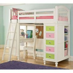 Cool white teenage girls loft bed design with amazing bunk study desk, colorful drawer unit, and closet underneath. 30 Cool Kids Bedroom Space Saving Ideas: Loft Bed And Bunk Beds With Closet And Hidden Storage Unit Underneath Girls Bunk Beds, Loft Bunk Beds, Bunk Bed Plans, Modern Bunk Beds, Kid Beds, Girls Bedroom, Master Bedroom, White Bedroom, Bedroom Ideas