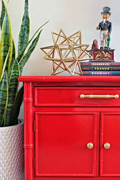 Dimples And Tangles: RED HOT NIGHTSTAND MAKEOVER Spray Painting Furniture,  Red Painted Furniture,