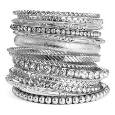 Natasha Couture 'Barrie' Bangles (Nordstrom Exclusive) Silver One Size (619.380 IDR) ❤ liked on Polyvore featuring jewelry, bracelets, accessories, bangles, pulseiras, women, bangle bracelet, silver bracelet bangle, silver hinged bracelet and hinged bangles