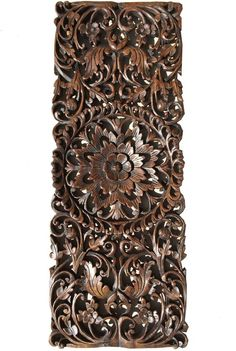 """Floral Tropical Carved Wood Wall Panel. Asian Wall Art Home Decor. Large Wood Wall Plaque. Dark Brown Finish 35.5""""x13.5 Extra Thick"""
