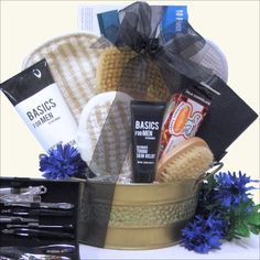 Just For Men Spa Gift Basket Send Dad this unique, masculine grooming gift… Summer Gift Baskets, Wine Gift Baskets, Themed Gift Baskets, Raffle Baskets, Diy Christmas Gifts, Holiday Gifts, Xmas, Christmas Ideas, Christmas Decorations