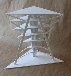 Clara Lieu, RISD Project Open Door, Staircase Sculpture Assignment, foam board & hot glue, 2014.