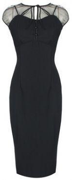 LINDY BOP 'PANDORA' GLAMOUROUS VINTAGE 1950's STYLE BLACK PENCIL WIGGLE DRESS