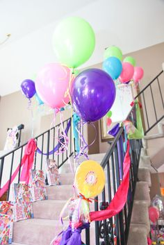 Candyland Party - Decorated Stairs with Candyland Games, Balloons, and Streamers