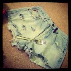 """DIY! Turn old """"mom jeans"""" into fashionable high-waisted shorts(: Done. Maybe next time I'll bleach the bottoms? I don't even know I have so many ideas!! And idk what to wear them with. Crop top and bandeau? Tie-front? Loose tucked in t-shirt? Idk. I'll figure it out. Let me know what y'all think of them."""
