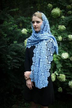 Your place to buy and sell all things handmade Cut Out People, Muslim Beauty, Chapel Veil, Lace Veils, Wrap Style, Modest Fashion, Shawl, Light Blue, Clothes For Women
