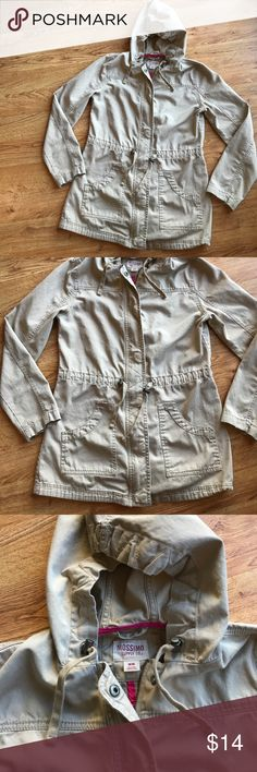 Mossimo Khaki Coat   size Medium Lightweight coat with hood and cinch waist. Great fall or spring coat. Good used condition. Mossimo Supply Co. Jackets & Coats