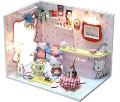 Kawaii DIY wooden doll house With Dust Cover Free Shipping Hello Kitty dollhouse furniture/Doll Home
