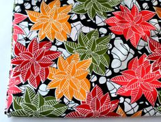 HALF YARD   bright multi color flowers  cotton by ChezviesSupplies, $2.50