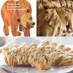 Book themed baby shower brunch menu: brown bear brown bear, bear claws / bear claw pastries