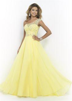 Elegant Beaded Yellow One Shoulder Blush 9946 Illusion Quinceanera Dress