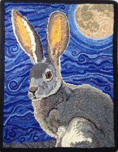 Jackrabbit Moon, hooked by Linda Stafford