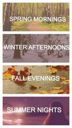 I would say winter MORNINGS sleeping in/reading on a snow day, drinking a hot drink. Spring AFTERNOONS being outside in the sunshine. Fall evenings enjoying a bon fire. Summer nights star gazing. <3