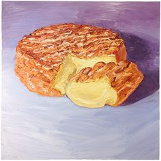 "Espoisses Berthaut - one of the Kings of Cheeses series. Large 24x24"" oil cheese portrait of one of the gooiest, tastiest and indulgent cheeses of the world."