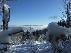 View from Czech border in Krkonoše mountain near village Albeřice to Poland