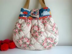 Floral   cotton Handbag  quilted handbag  handmade  by GerdaBags
