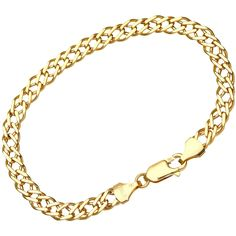 Citerna 9 ct Yellow Gold 3.5 g Double Curb Bracelet of 18.5 cm Length and 6 mm Width
