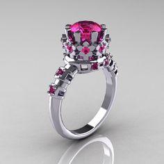 Modern Vintage 14K White Gold 1.5 Carat Pink Sapphire Classic Armenian Wedding Ring AR105-14KWGPSS. $1,399.00, via Etsy.