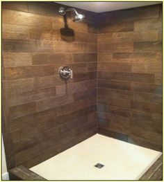 wood tile shower - Google Search