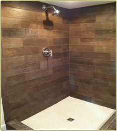 wood tile shower - Google Search