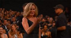 Jessica Lange knows how to command a crowd AND people to help her up the stage so she doesn't pull a Jennifer Lawrence.
