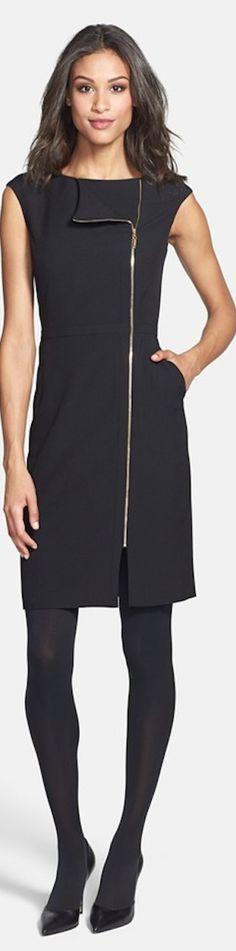 Ellen Tracy Zip Detail Sheath Dress