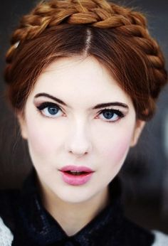 Cute Milkmaid Braid Inspiration and gorgeous makeup with smoky eye and light pink blush and lipstick Braided Hairstyles Updo, Braided Prom Hair, Night Hairstyles, Braided Updo, Pretty Hairstyles, Hairstyle Photos, Hairstyles 2016, Braid Hair, Hairdos