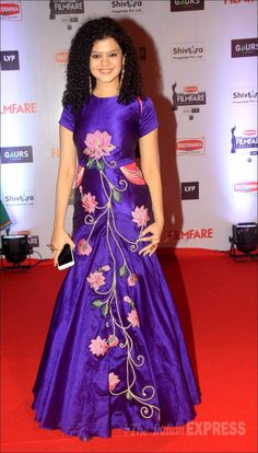 Palak Muchhal in a purple embroidered gown on the red carpet at the Filmfare Awards show. #Bollywood #Fashion #Style #Beauty #Hot