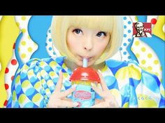 KFC Krushers frozen slush beverages commercial featuring Kyary Pamyu Pamyu / きゃりーぱみゅぱみゅ, and super colorful patterned everything, in Japanese