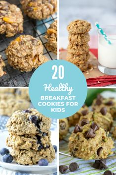 These healthy delicious cookie recipes are made with whole grains lower-sugar and nutritious add-ins so they're suitable for breakfast on the go! Healthy Cookies For Kids, Cookie Recipes For Kids, Super Healthy Kids, Delicious Cookie Recipes, Healthy Meals For Kids, Yummy Cookies, Healthy Breakfast Recipes, Kids Meals, Healthy Eating