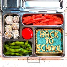 "#ad With kids back in school, whether virtually or not, this playful lunch will keep spirits up! Here's what's inside: Mini @babybel 100% real cheese (the center and star of the show with no artificial flavors or preservatives), back to school sandwich with bright whipped cream cheese or hummus (either works!), watermelon ""fries"", edamame and coconut peanut butter balls! #Babybel #jointhegoodness #easylunch #kidssnacks #healthysnacks #kidslunches #snacksathome #healthysnacksforkids Coconut Peanut Butter, Peanut Butter Balls, School Lunch Recipes, Whipped Cream Cheese, Hype Shoes, Edamame, Healthy Snacks For Kids, Creative Food, Sheet Pan"