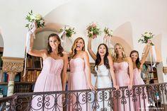 Bridesmaids in a fun wedding photo at the Darlington House Library #weddingphotography / national wedding photographers