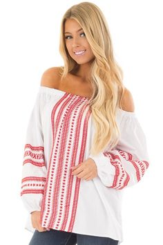 175dc671de763 Lime Lush Boutique - White Off the Shoulder Top with Cherry Red Embroidery