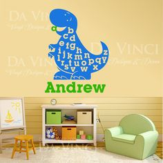 Dinosaur Boy Personalized Custom Name Vinyl by DaVinciVinylDesigns