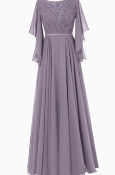 Ruffle Sleeves Chiffon Mother of the Bride Groom Dress Evening Formal Gowns Long Mothers Dress, Mother Of The Bride Dresses Long, Mothers Dresses, Dress Long, Chifon Dress, Lace Dress, Half Sleeve Dresses, Half Sleeves, Dress Pesta