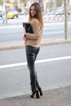 Leather pants bottom heels sweater