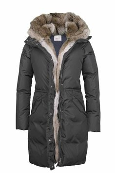 !!!!!!Carbon grey Down Parka with rabbit fur hood and facing – LEMPELIUS