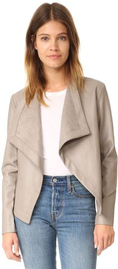 Women's Vegan Leather Drapey Jacket http://shopstyle.it/l/k63E #affiliatelink