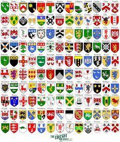 Find Your Irish Coat of Arms. - The Irish Store Family Crest Symbols, Family Symbol, Irish Coat Of Arms, Etiquette Vintage, Armadura Medieval, Templer, Symbols And Meanings, Irish Roots, Irish Celtic