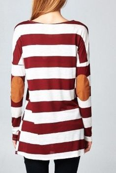 Stripe L/S Tunic with Elbow Patch