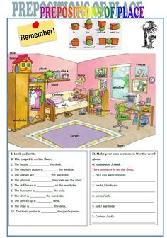 English Worksheets Prepositions Of Place English Lessons For Kids, English Worksheets For Kids, English Activities, French Lessons, Spanish Lessons, English Homework, English Reading, English Prepositions, English Vocabulary