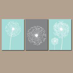 DANDELION Wall Art Flower Artwork Aqua Gray Custom Colors Modern Nursery Set of 3 Prints Decor Bedroom Bathroom Dorm Three