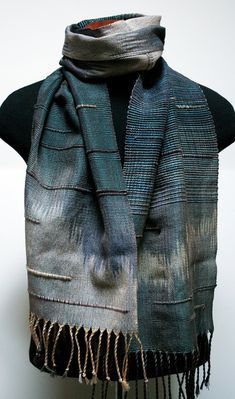 Handwoven Saori Inspired Blue and Beige Scarf by eacrisman on Etsy, $118.00