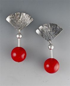 Hammered Silver and Coral Earrings by Suzanne Linquist (Silver & Stone Earrings) | Artful Home